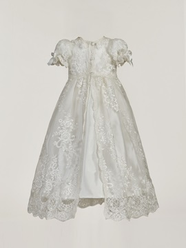 Fancy Short Sleeves Appliques Baby Girl's Christening Gown with Bonnet
