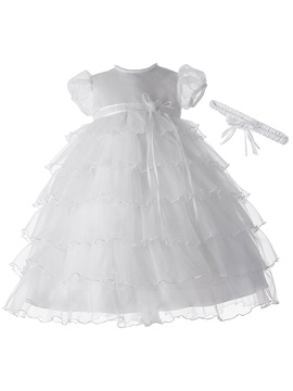 Short Sleeves Jewel Neck Sashes Tiered Baby Girl's Christening Gown