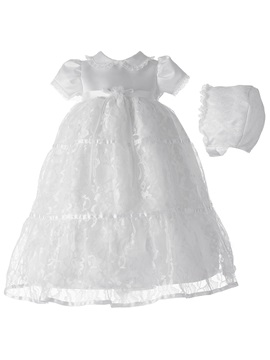Lovely Lace Edge Short Sleeves Baby Girl's Christening Gown
