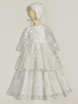 Infant Baby Girl's Sequins Appliques Christening Gown with Bonnet