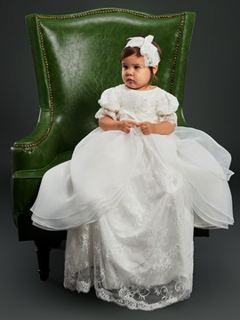 Short Sleeves Lace Top Long Christening Gown for Girl's Babies