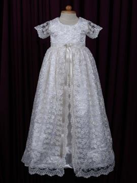 Chic Round Neck Short Sleeves Sashes Lace Christening Gown