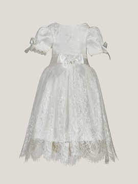 Short Sleeves Bowknot Lace Baby Girls Christening Gown