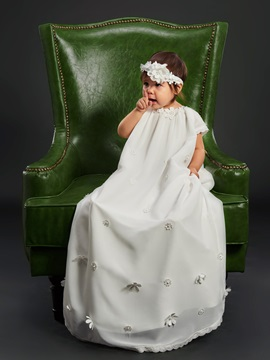 Beautiful Flowers Cap Sleeves Baby Girls Christening Gown