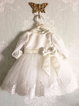 Vintage Long Sleeve Appliques Christening Gown for Infant Baby Boy Girl