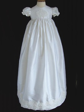 Short Sleeve Appliques Christening Gown