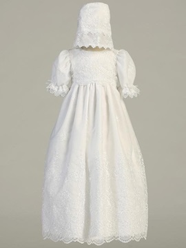 Amazing Sleeves Long Christening Gown with Bonnet