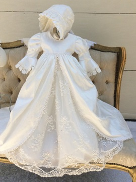 Vintage Sleeves Lace Baptism Gown With Bonnet
