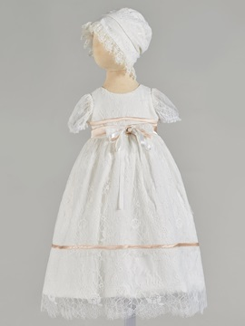 Short Sleeve Bowknot Lace Baby Girl's Christening Gown