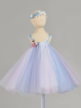 Colorful Straps Flowers Baby Girl's Christening Gown