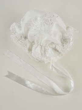 Appliques Baby Girl's Christening Gown with Bonnet