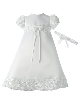 Jewel Neck Short Sleeves Appliques Baby Girl's Christening Gown