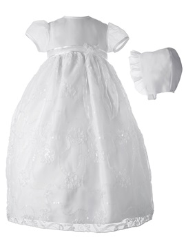 Fancy Appliques Sequined Bonnet Infant Baby Girls Christening Gown
