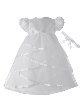 Tiered Flowers Christening Gown with Headpiece