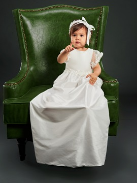 Cap Sleeve Flowers Baby Girl's Christening Gown