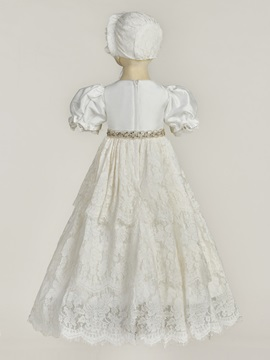 Short Sleeve Lace Baby Girl's Christening Gown
