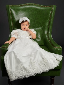 Fancy Short Sleeves Lace Infant Girl Christening Baptism Dress with Headband