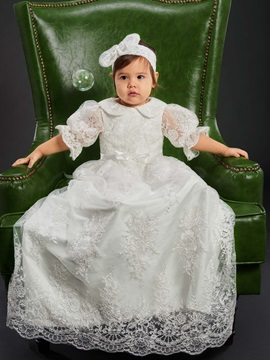 Vintage Turn-down Collar Appliques Lace Long Christening Gown for Girl's Babies