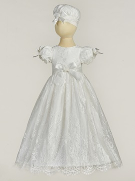 Delicate Sleeves Lace Long Christening Gown for Girls with Hat