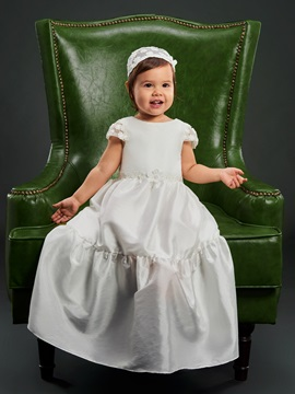 Lovely Round Neck Lace Cap Sleeves Baby Girls Christening Dress