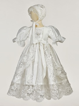 Vintage Appliques Beaded Lace Baby Girl Baptism Dress