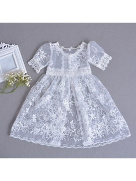 Fancy Lace Sleeves Baby Girl's Christening Gown with Hat