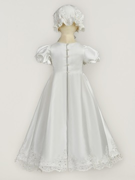 Short Sleeves Appliques Pearls Long Baptism Gown