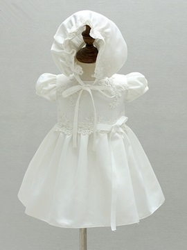Cute Short Sleeves Appliques Baby Girls Christening Gown for Newborn Baptism