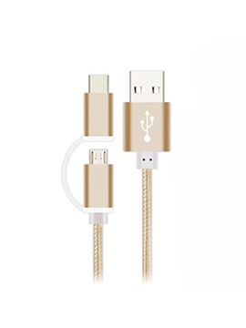 Micro USB/Type-C Two-In-One Metal Nylon Data Cable