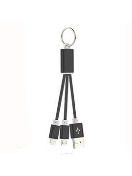 Micro USB/USB Type-C Two-In-One Aluminium Alloy Key Ring Data Cable for Apple/MIUI/LG/BBK/Meizu