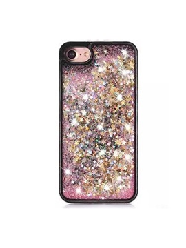 Transparent Plastic 3D Glitter Quicksand and Heart Liquid Case for IPhone 8/8 Plus/7 Plus/7/6 Plus/6S/6