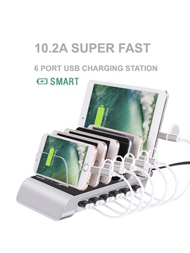 10.2A 6 Port USB Charging Station Universal Desktop Tablet & Smartphone Multi-Device Hub Charging Dock