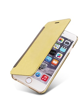 Smart Windows Case For iPhone 6 6S 7 8 Plus 5S Cover Plating Mirror PC Flip Leather Cases For iPhone 5 5S SE X 10 Shell