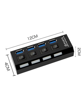 4-port USB 3.0 Hub,5Gbps ABS External Hub with Individual Power Switch