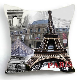 Beautiful Paris Eiffel Tower and City Print Linen Throw Pillow