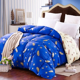 Feather Stars Print Royal Blue Winter Quilt 1 Piece
