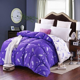 Soft Feather Stars Print Noble Purple Cotton Quilt