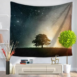 Tree and Galaxy Milky Way Pattern Decorative Hanging Wall Tapestry