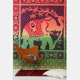 Boho Gradient Elephant Prints Ethnic Style Hanging Wall Tapestry
