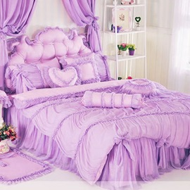 Wannaus Purple/Pink Lace Raffle Cotton Full Size 4-Piece Duvet Cover Sets