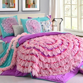 Wannaus Romantic Purple Ruffle Lace Cotton 6-Piece Duvet Cover Sets