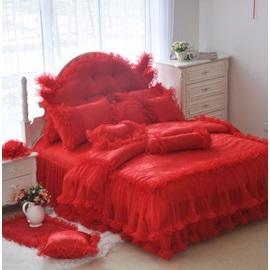 Wannaus Romantic Red Lace Cotton Full Size 4-Piece Duvet Cover Sets