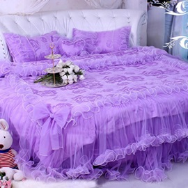 Wannaus Purple Rose and Bowknot Design Lace 4-Piece Duvet Cover Sets