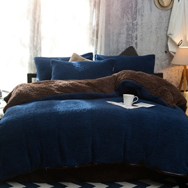 Wannaus Solid Navy Blue Coffee Reversible Polyester Faux Sherpa 4-Piece Bedding Sets/Duvet Cover