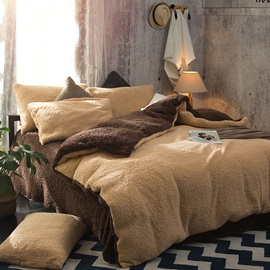 Wannaus Solid Camel and Coffee Reversible Polyester Faux Sherpa 4-Piece Bedding Sets/Duvet Cover