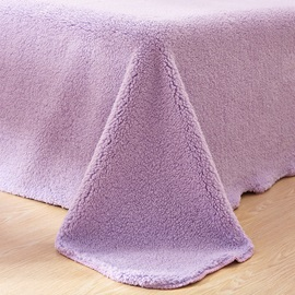 Wannaus Solid Violet Super Soft Fluffy Polyester Faux Sherpa 4-Piece Bedding Sets/Duvet Cover