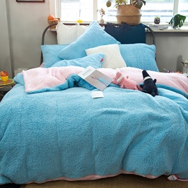 Wannaus Solid Sky Blue Pink Reversible Polyester Faux Sherpa 4-Piece Bedding Sets/Duvet Cover