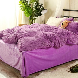 Wannaus Full Size Solid Purple Super Soft Fluffy Plush 4-Piece Bedding Sets/Duvet Cover