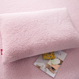 Wannaus Solid Pink Super Soft Fluffy Polyester Faux Sherpa 4-Piece Bedding Sets/Duvet Cover
