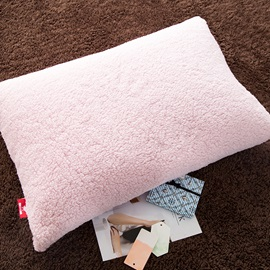 Wannaus Solid Pink and Coffee Reversible Polyester Faux Sherpa 4-Piece Bedding Sets/Duvet Cover